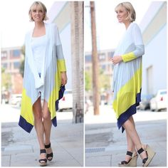 """""""Touch of Rain"""" Colorblock Cardigan Colorblock high low cardigan. Available in coral + mocha and lime + navy. This listing is for the LIME + NAVY. Brand new. True to size. NO TRADES. Bare Anthology Sweaters Cardigans"""