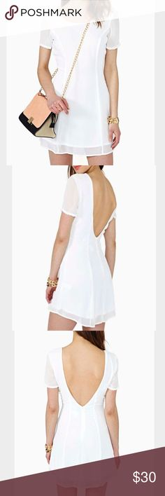 """25🐰💛 nasty gal Lydia dress The perfect ivory chiffon dress featuring sheer sleeves and a plunging V back. Zip closure, fully lined. Looks super cute with thigh-highs and Mary Jane platforms! By Nasty Gal. 100% Polyester. 16"""" bust. 13"""" waist. 31.5"""" length. Hand wash cold. Made in USA. Nasty Gal Dresses Mini"""