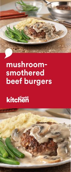 There's nothing more satisfying and delicious than these tasty, quick-cooking, Mushroom-Smothered Beef Burgers. Cooked in a skillet with a creamy mushroom sauce, this recipe is perfect for dinner.