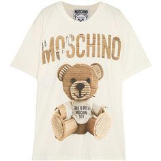 Moschino Oversized printed cotton-jersey T-shirt ($250) ❤ liked on Polyvore featuring tops, t-shirts, cotton, jersey, moschino, net-a-porter, oversized, white, oversized white tee and cotton jersey