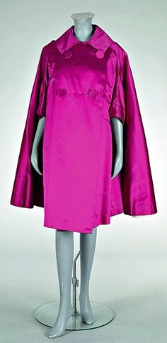 A fine Balenciaga deep cyclamen pink satin evening coat, circa labelled and indistinctly numbered, double-br. 1960s Fashion, Pink Fashion, Vintage Fashion, Classic Fashion, Look Retro, Look Vintage, Christian Dior, Balenciaga, Vintage Dresses