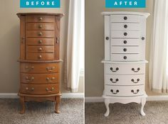 Jewelry armoire before and after - Use ECOS Paints Furniture Paint for a durable, non-toxic finish!