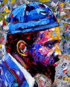 Thelonious Monk Jazz Piano art music painting by Debra Hurd -- Debra Hurd