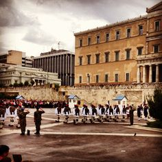 Athens. Changing of the guard at Parliament building on Syntagma Square. 6  September 2012. #athens
