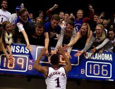 This is why we love college basketball: No. 2 Kansas wins classic over No. Kansas Jayhawks Basketball, Basketball Court Size, Kansas Basketball, Basketball Floor, Basketball Socks, Basketball Jersey, Oklahoma, Nba, Rock
