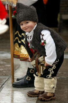Bulgarian child in his traditional clothing.