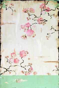 "Kathe Fraga paintings, inspired by the romance of vintage French wallpapers and Chinoiserie with a modern twist. ""Remembering"", 24x36 on frescoed canvas. www.kathefraga.com"