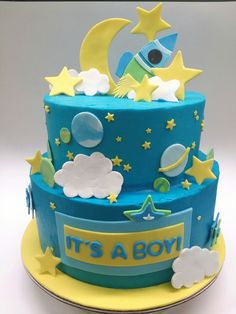 Made by Sweet Elegance of Asheville NC. Baby Shower Cakes For Boys, Baby Boy Cakes, Baby Boy Shower, Baby Boy Birthday Cake, Cupcake Birthday Cake, Cake Designs For Boy, Rocket Cake, Space Baby Shower, Planet Cake