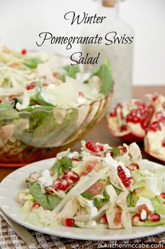 The Kitchen McCabe: Winter Pomegranate Swiss Salad Cottage Cheese Salad, Christmas Dinner Menu, Salad Recipes, Healthy Recipes, Pomegranate Salad, Good Food, Yummy Food, Dinner Sides, Cafe Food
