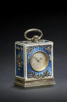 FRENCH BELLE EPOQUE ENAMELED SILVER GILT MINUTE REPEATING MINIATURE BOUDOIR TIMEPIECE Signed by LaCloche Frères, Paris, case with French lozenge maker's mark MB, circa 1910
