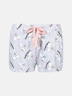 Shorts med tryck, kort modell med resår och kontrastfärgat satinband i midjan.  Grå