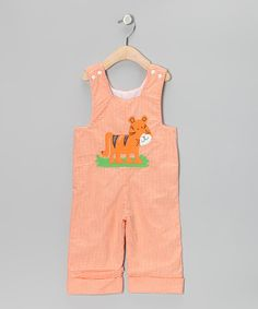 Orange Tiger Gingham Overalls - Infant & Toddler by Beehave on #zulily