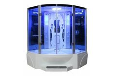 Eagle Bath ETL Certified Steam Shower Enclosure generator) with Whirlpool Tub, 2 Handheld Showerheads, 6 mm Tempered Blue Glass and Built-In Seating Area Tub Shower Combo, Shower Tub, Shower Heads, Bath Tub, Girl Shower, Steam Shower Enclosure, Bath Store, Steam Sauna, Steam Bath