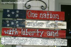 DIY Star Spangled Pallet Flag - Don't have a place for a pallet flag.  Might try this with paint sticks or shims.