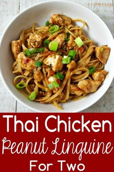 Thai Chicken Peanut Linguine is a very tasty Asian-inspired dish made with chicken and broccoli slaw in a mildly spicy peanut butter sauce. This small batch recipe serves 2 and makes an impressive lunch, or date night dinner. Easy and quick, ready in just Tai Food Recipes, Thai Chicken Recipes, Asian Recipes, Cooking Recipes, Thai Chicken Marinade, Oriental Recipes, Indonesian Recipes, Orange Recipes, Thai Recipes
