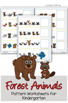 Working on recognizing and completing patterns can be a difficult concept to grasp. Use these FREE forest animals pattern worksheets for kindergar Nocturnal Animals, Zoo Animals, Animals For Kids, Wild Animals, Woodland Animals Theme, Forest Animals, Woodland Creatures, Preschool Themes, Preschool Activities