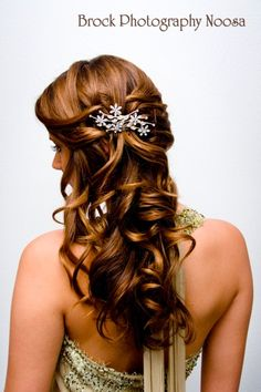 Wedding/formal long side hair style, crystal hair clip. More