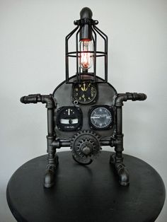 Steampunk gear machine age aviation table lamp industrial art light