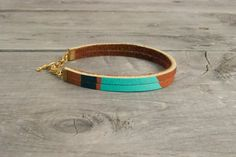 Leather Bracelet in Brown with Turquoise & Copper  by sonofasailor