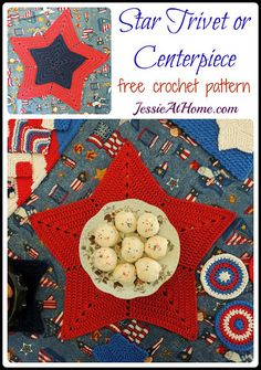 Star Trivet or Centerpiece ~ Free Crochet Pattern by Jessie At Home #diy #crafts
