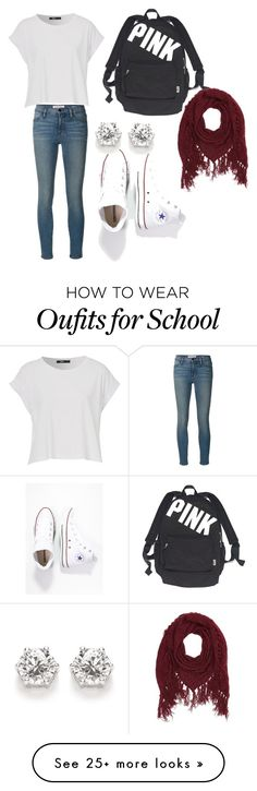 """""""School or casual outfit"""" by hankate15 on Polyvore featuring Frame Denim, Converse, Victoria's Secret and Charlotte Russe"""