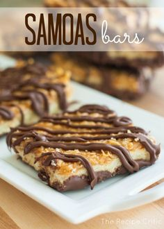Samoas Bars at http://therecipecritic.com  These taste even better than the real thing!  Amazing!