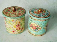 Vintage Floral Tin Storage Canisters - Vintage Canisters - Pair of Vintage Kitchen Tins. $31.00, via Etsy.
