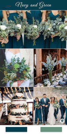 Top 8 Striking Navy Blue Wedding Color Palettes for 2019 Fall---navy blue and green garden wedding theme in spring and fall wedding dreses wedding bouquets wedding centerpeices wedding cakes diy wedding reception table settings Wedding Cakes With Flowers, Wedding Bouquets, Fall Bouquets, Bridesmaid Bouquets, Bridesmaids, Spring Wedding Decorations, Garden Wedding Themes, Wedding Ideas Green, Wedding Colors Green