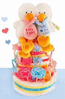 Special Delivery 3 Tier Diaper Cake for Twins!