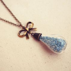 Mini Vial Necklace with Blue Glitter and by DearDelilahHandmade