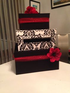 Card Box For A Black White And Red Wedding DIY With Paper Mache