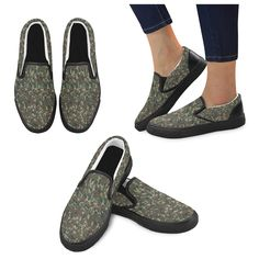 Forest Camouflage Military Pattern Slip-on Canvas Shoes for Men/Large Size (Model 019) at Artsadd #Camouflage4you