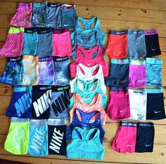 Matching sport bras and spandex shorts