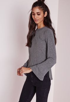 Missguided - Ribbed Longline Bell Sleeve Top Grey