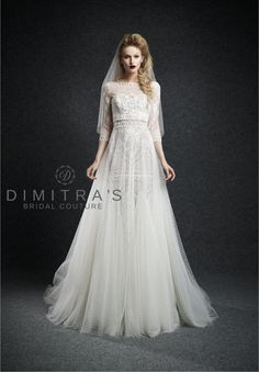 Ersa Atelier available at Dimitra's Bridal Couture #ErsaAtelier #Cassandra #beaded #fitandflare #Aline #tulle #overlay #layers #sweetheart #neckline #illusion #sheer #highneckline #quarterlengthsleeve #dotted #boho #vintageinspired #bridalgown