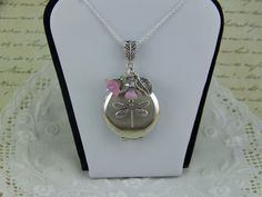 Silver Filigree Dragonfly Locket Pink Czech by CreatedinTheWoods, $21.95
