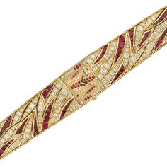 Gold, Diamond and Ruby Wristwatch, Piaget  18 kt., quartz, centering a square-shaped gold dial decorated with tapered bands of small round diamonds and rubies, completed by a wide tapered strap of flared ribbons set with 126 round and pear-shaped rubies and 234 round diamonds approximately 5.80 cts., movement, dial, case and clasp signed Piaget, with French export mark.