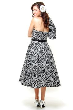 SALE! Grey Gardens Black & Grey Abstract Floral Cotton Strapless with Bolero Swing Dress - XS to XL - Unique Vintage - Prom dresses, retro dresses, retro swimsuits.