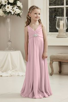 Alexia Designs style 49: V-Neck long chiffon dress with waistband and beading (Junior version of adult style 172L)