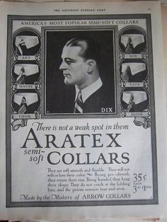 1924 Vintage Aratex Mens Collars DIX By Makers Arrow Collars Vintage Fashion Ad