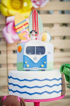 VW surf cake from Tropical Surf Themed Birthday Party at Kara's Party Ideas. See more at karaspartyideas.com!