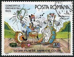 ROMANIA - 1986: shows Horace, Walt Disney characters in the Band Concert, 1935, devoted fifty years of Color Animated Films Editorial Stock Photo