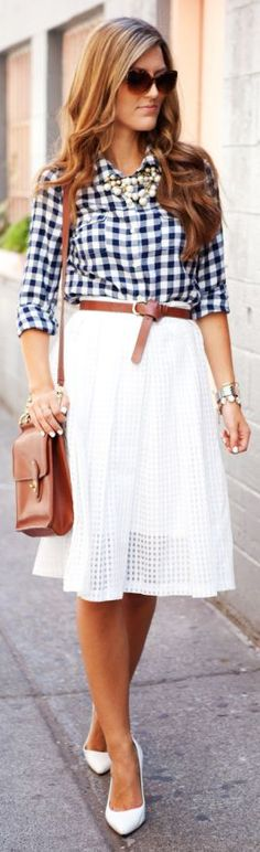 Old Navy Blue And White Basic Women's Gingham Print Button Down by Chic Street Style