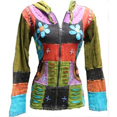 Pixie Hooded Flower Embroidery Hippy Style Jacket featuring polyvore fashion clothing outerwear jackets grey women's clothing patchwork jacket hippie jacket flower jacket hooded jacket grey jacket