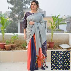 Welcome The Summers In Style! Embroidered Pockets On Patch Work Sarees - Tikli Simple Sarees, Trendy Sarees, Stylish Sarees, Fancy Sarees, Saree Tassels Designs, Cotton Saree Designs, Saree Blouse Designs, Ethnic Fashion, Indian Fashion