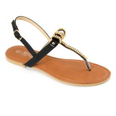 Rhinestone T-Strap Sandals Black   Danice Stores