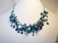 Blue, Turquoise, and White Necklace