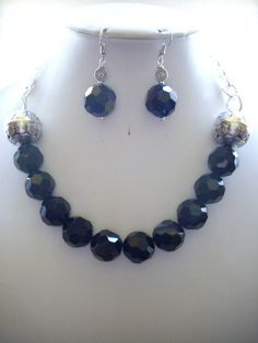 Chunky Jet Black Faceted Bead Necklace with by DesignsbyPattiLynn, $60.00