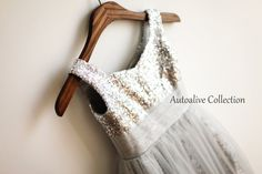 The Great Gatsby Silver Sequins Light Gray Tulle by autoalive, $47.99