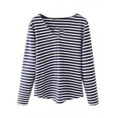 Blue V-neck Stripe Long Sleeve Basic T-shirt ($22) ❤ liked on Polyvore featuring tops, t-shirts, blue v neck t shirt, blue tee, v neck t shirts, stripe tee and blue striped t shirt